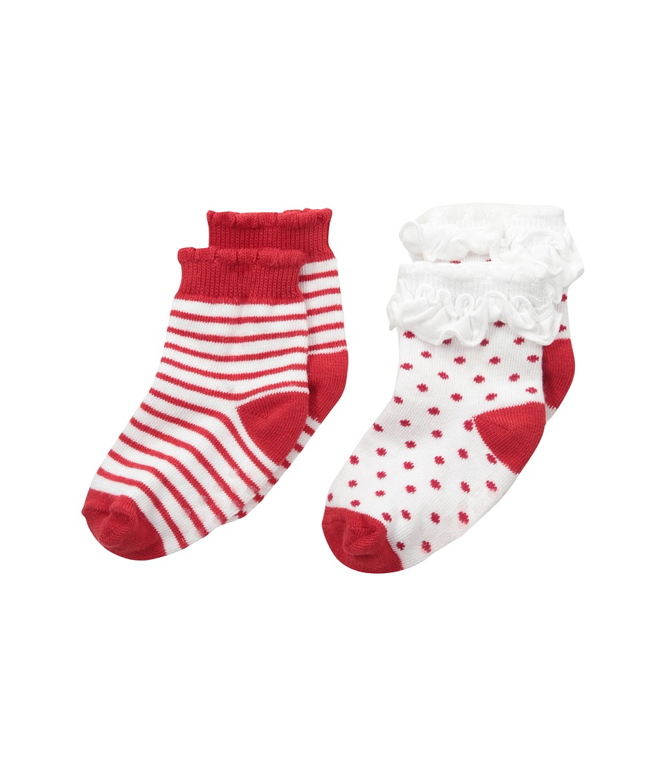 Jefferies Socks - Holiday Ruffle Dot/Stripe Socks with Non-Skid 2-Pair Pack (Infant/Toddler) (Red/White) Girls Shoes
