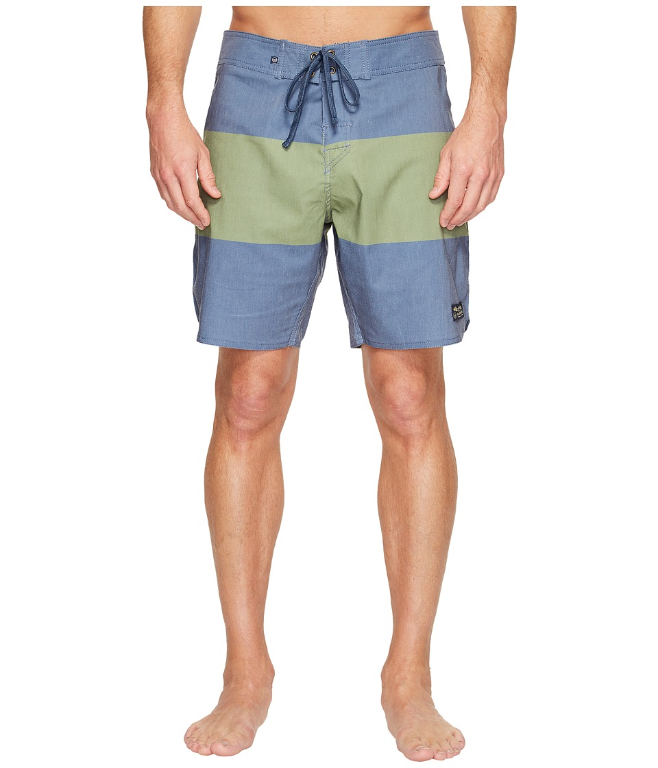 United By Blue - Midstream Scallop Boardshorts (Green) Men's Swimwear
