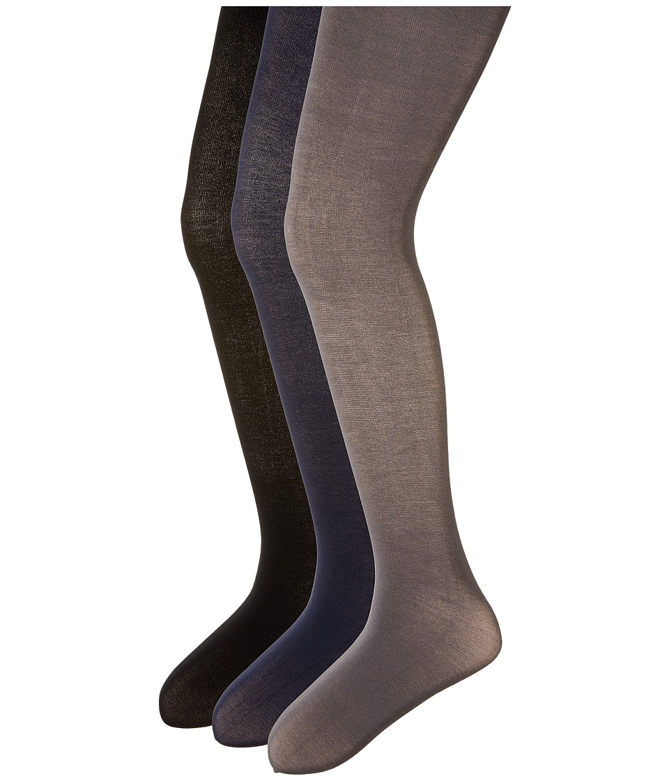 Jefferies Socks - Pima Cotton Tights 3-Pair Pack (Infant/Toddler/Little Kid/Big Kid) (Navy/Dark Grey/Black) Hose