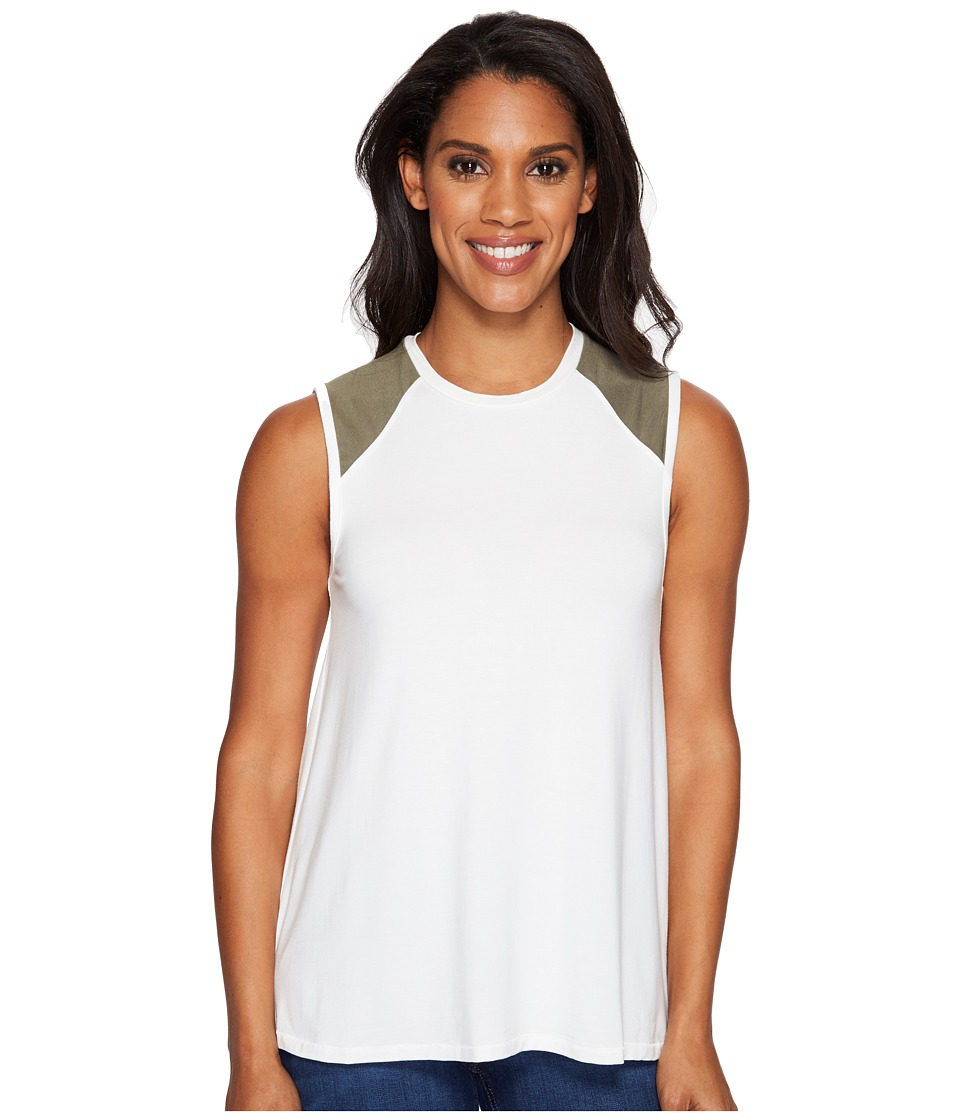 United By Blue - Champlain Tank Top (White/Olive) Women's Sleeveless