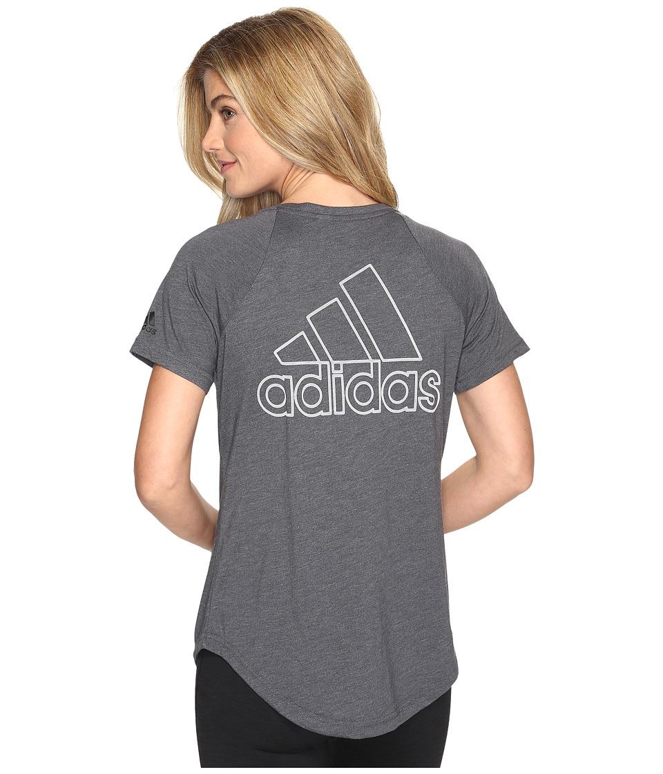 adidas - ID V-Tee (Black) Women's Short Sleeve Pullover
