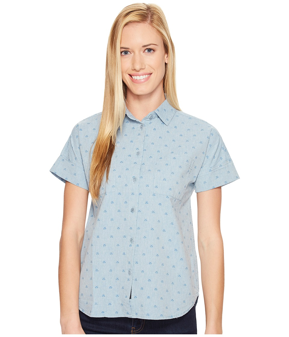 United By Blue - Short Sleeve Honeycomb Shirt (Blue) Women's Clothing