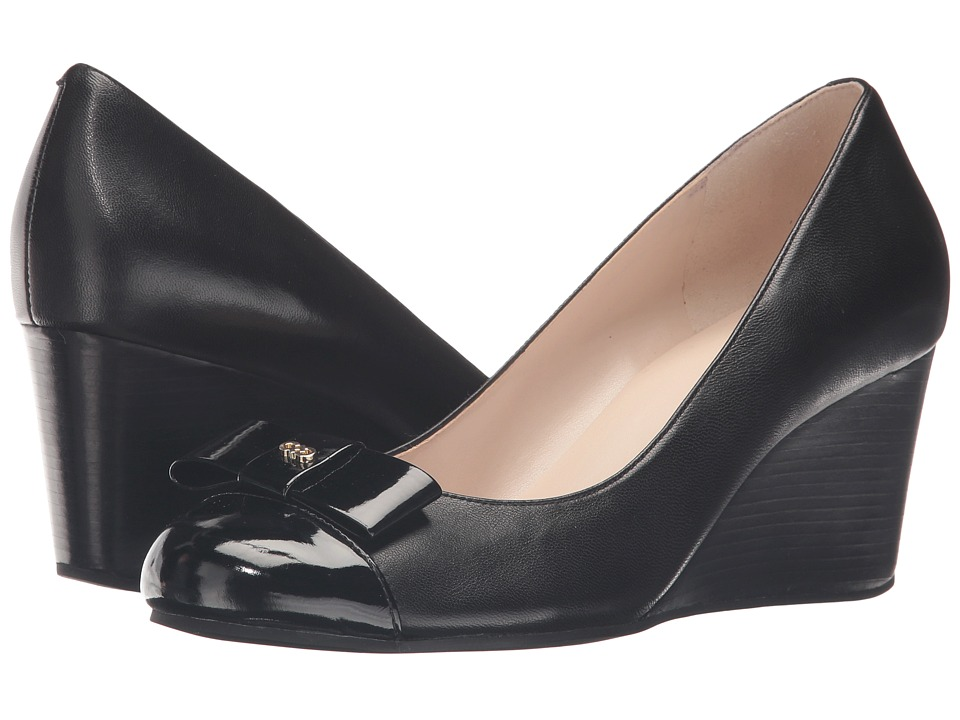 Cole Haan - Elsie Bow Wedge 65mm II (Black Leather/Black Patent) Women's Wedge Shoes