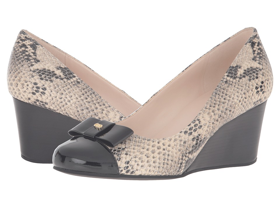 Cole Haan - Elsie Bow Wedge 65mm II (Roccia Snake Print/Black Patent) Women