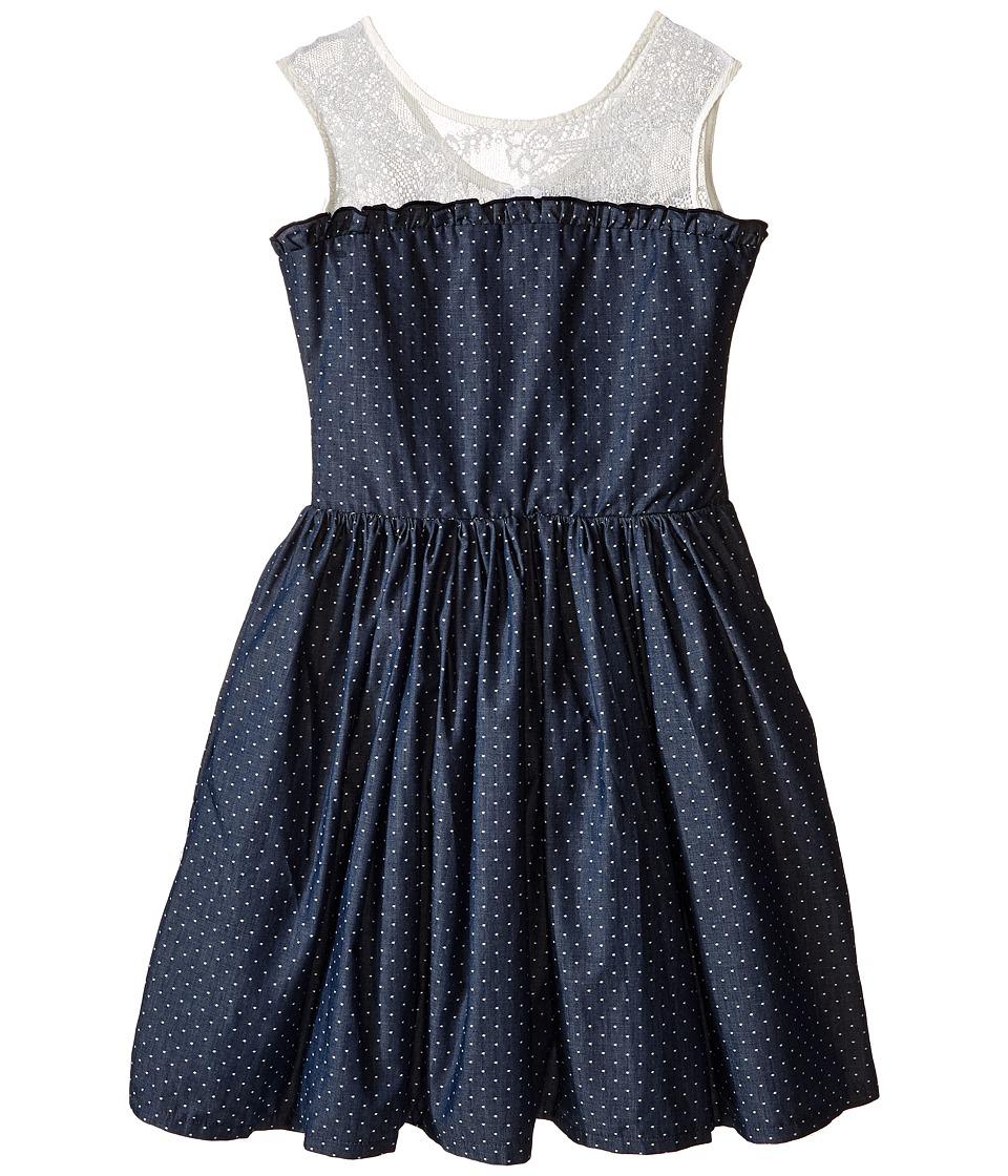 fiveloaves twofish - Miss Denim Dot Party Dress (Little Kids/Big Kids) (Denim) Girl's Dress