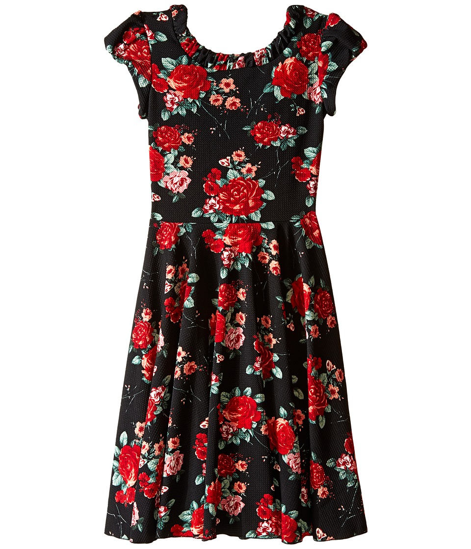 fiveloaves twofish - Into the Woods Dress (Big Kids) (Black/Red) Girl's Dress