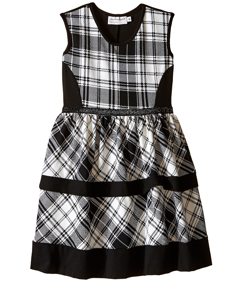 fiveloaves twofish - Get Plaid Dress (Big Kids) (Black/White) Girl's Dress
