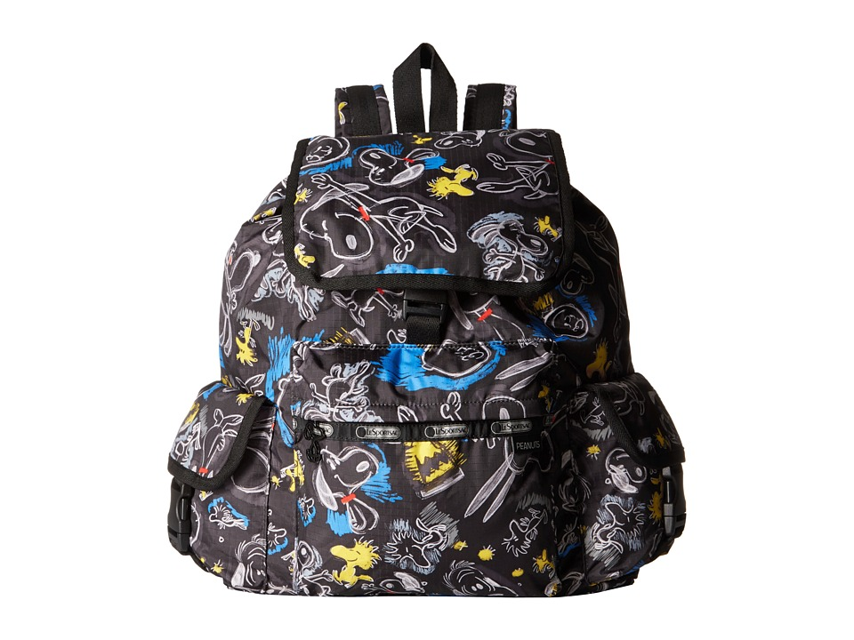LeSportsac - Voyager Backpack (Chalkboard Snoopy) Backpack Bags