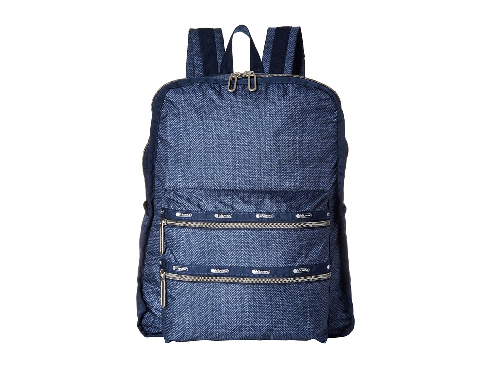 LeSportsac - Functional Backpack (Herringbone Blue) Backpack Bags