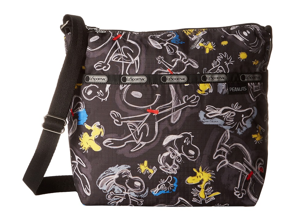 LeSportsac - Small Cleo Crossbody Hobo (Chalkboard Snoopy) Cross Body Handbags