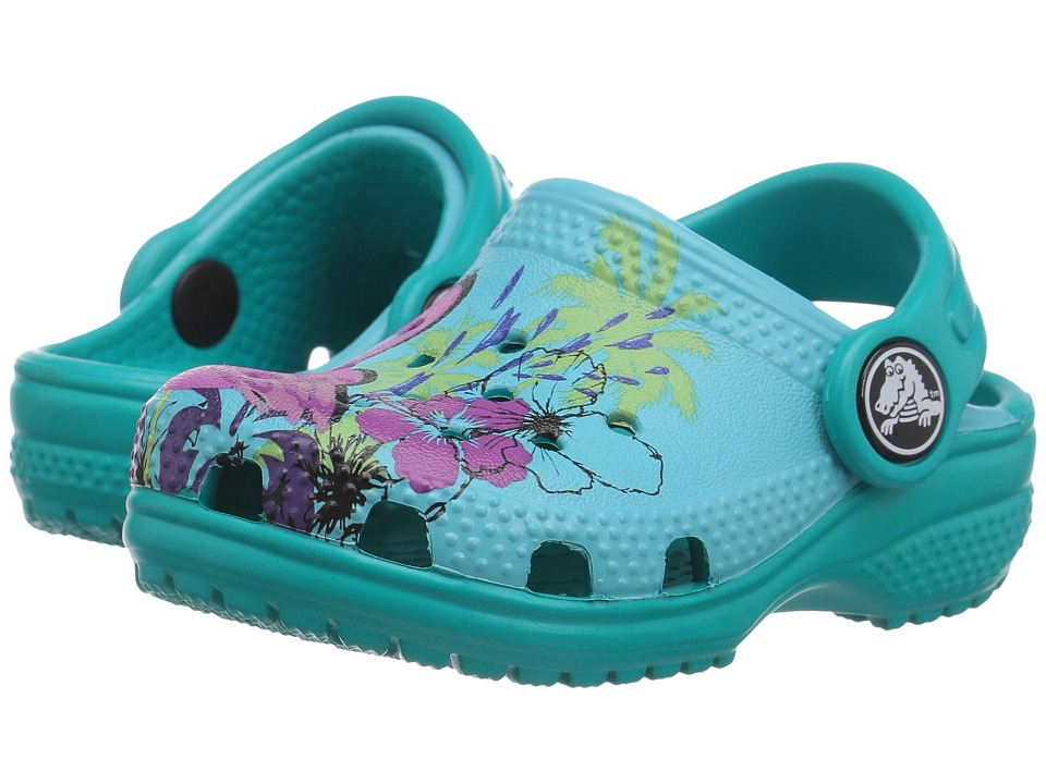 Crocs Kids - Classic Graphic Clog (Toddler/Little Kid) (Turquoise) Kids Shoes