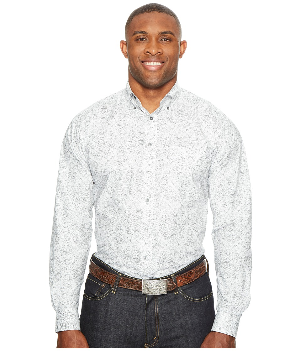 Ariat - Big Tall Firman Long Sleeve Print (Jetty Grey) Men's Clothing
