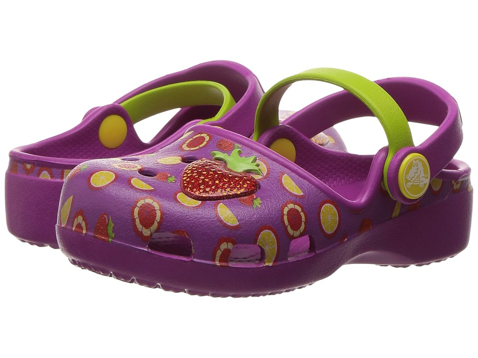 Crocs Kids - Karin Novelty Clog (Toddler/Little Kid) (Vibrant Violet/Tangerine) Girls Shoes