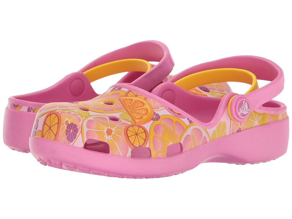 Crocs Kids - Karin Novelty Clog (Toddler/Little Kid) (Party Pink/Lemon) Girls Shoes