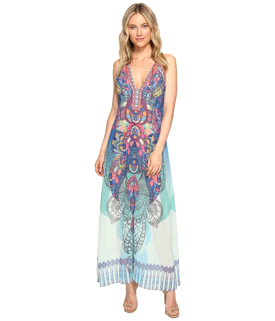 Hale Bob - Supercharged Microfiber Chiffon Maxi Dress (Blue) Women's Dress