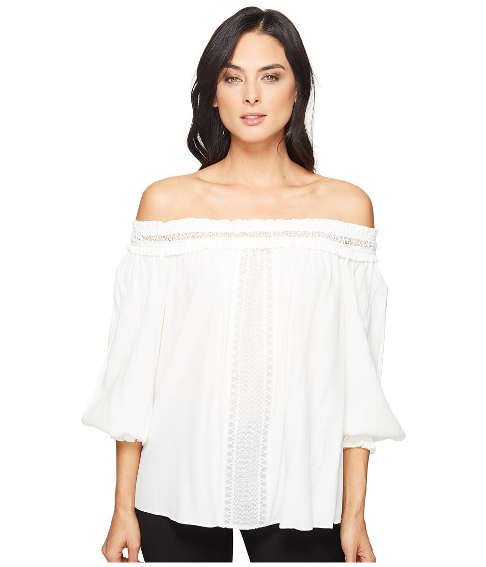 Hale Bob - Piece of Work Viscose Crepe with Lace Trim Off Shoulder Top (Ivory) Women's Clothing