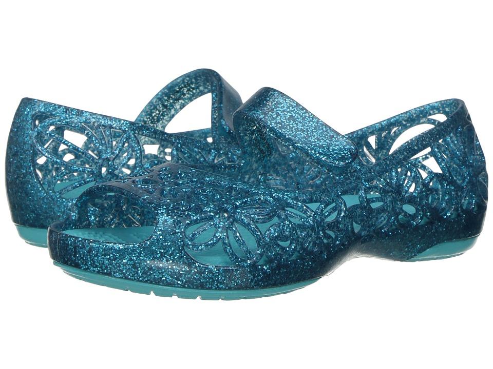 Crocs Kids - Isabella Glitter Jelly Flat PS (Toddler/Little Kid) (Pool) Girls Shoes