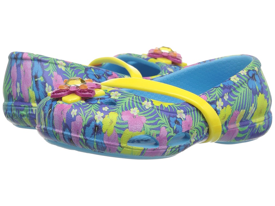 Crocs Kids - Lina Graphic Flat (Toddler/Little Kid) (Electric Blue) Girls Shoes