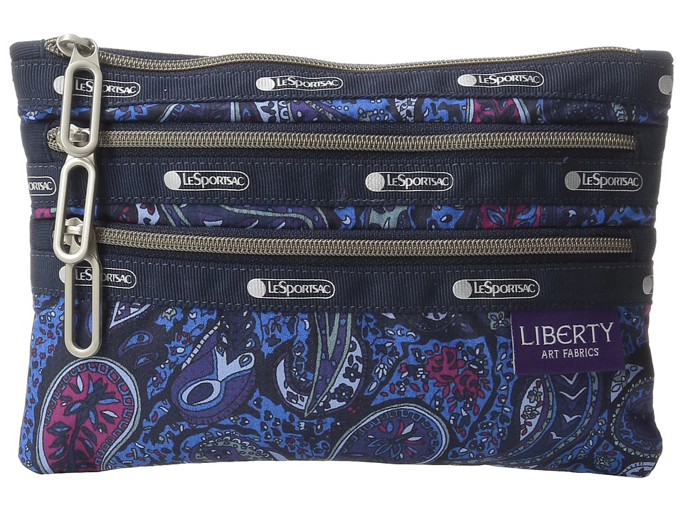 LeSportsac - Classic 3-Zip Pouch (Eastern Voyage Blue) Wallet