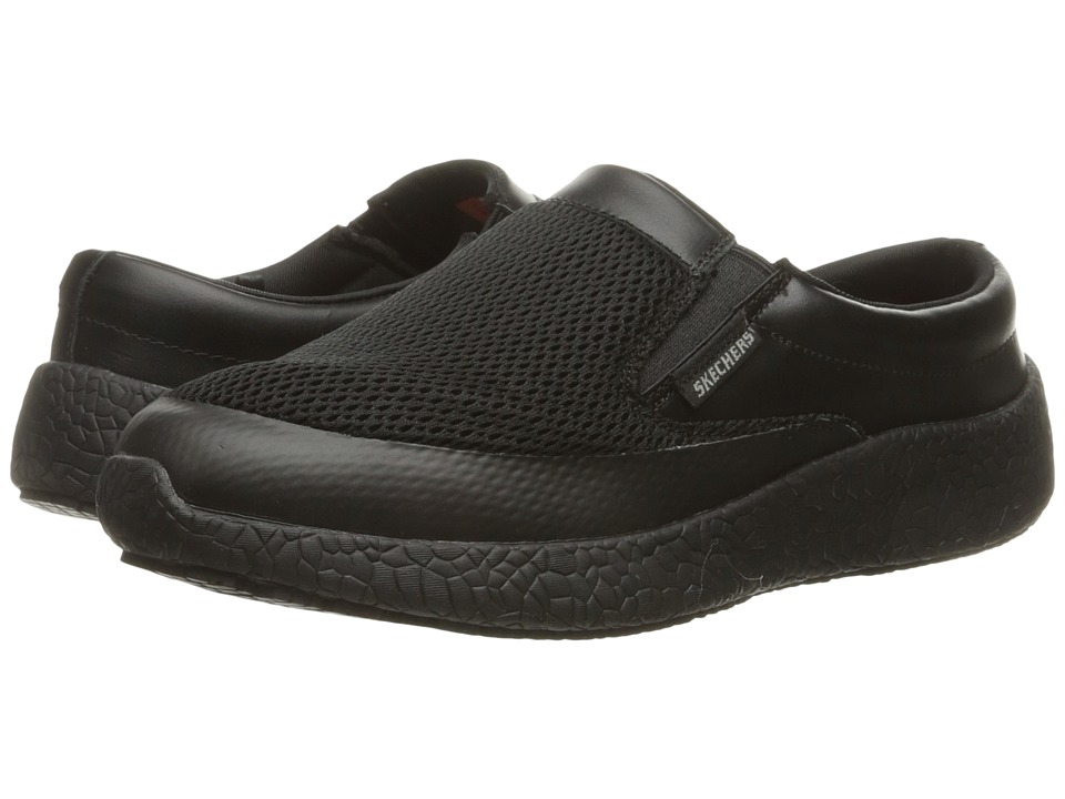 SKECHERS Work - Burst SR - Tifton (Black Mesh/Leather (Water/Stain Repellent Spray)) Women's Shoes