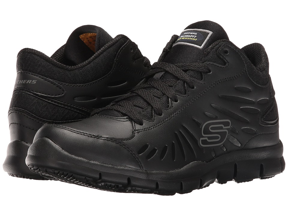 SKECHERS Work - Eldred - Linton (Black Leather/Mesh/Trim) Women's Lace up casual Shoes