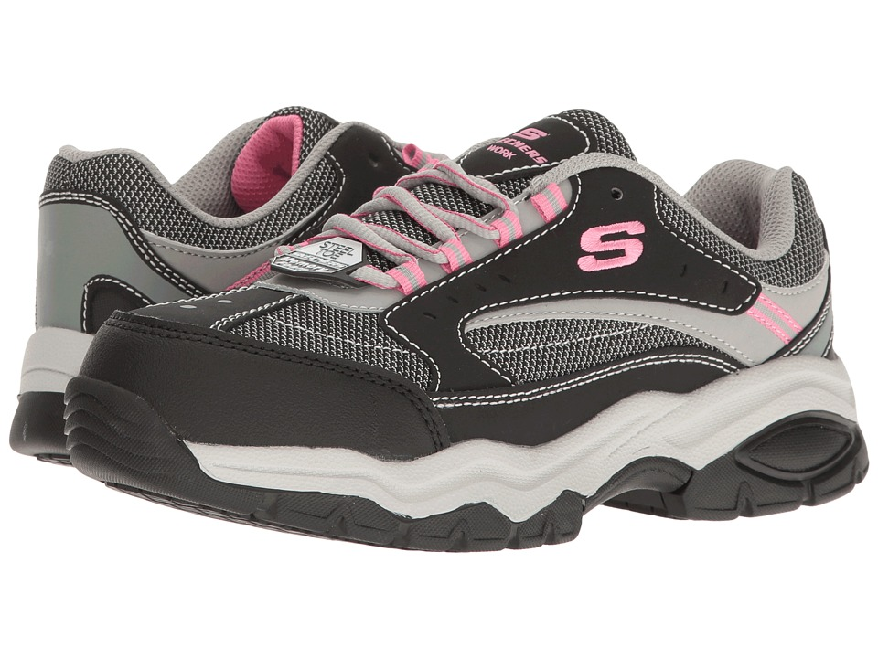 SKECHERS Work Biscoe (Black Action Nubuck/Gray/Pink Trim) Women's Shoes