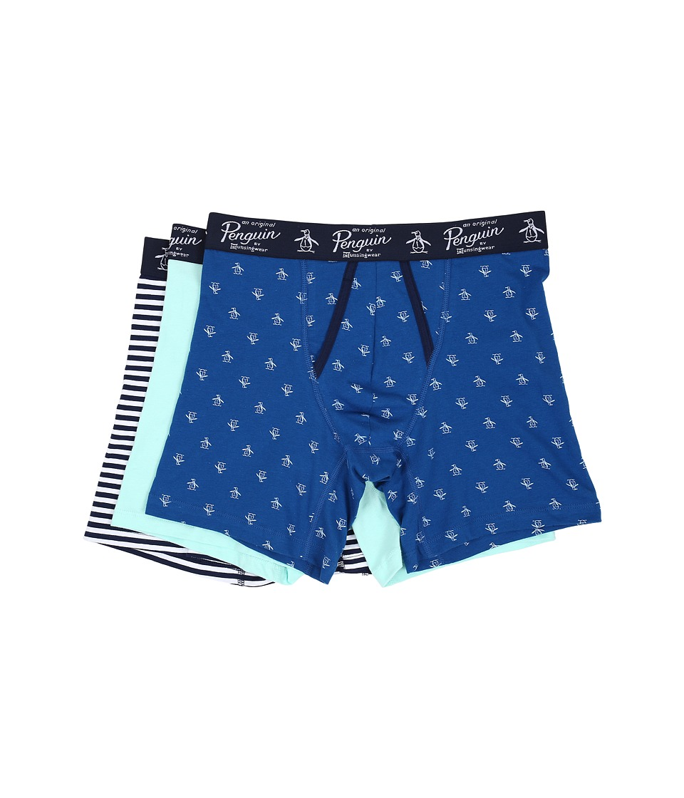 Original Penguin - 3-Pack Boxer Brief (Classic Blue/Blue Tint/Medieval Blue Solar Stripe) Men's Underwear
