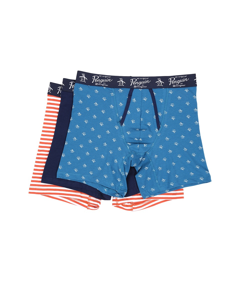 Original Penguin - 3-Pack Boxer Brief (Seaport/Medieval Blue/Mecca Orange Solar Stripe) Men's Underwear
