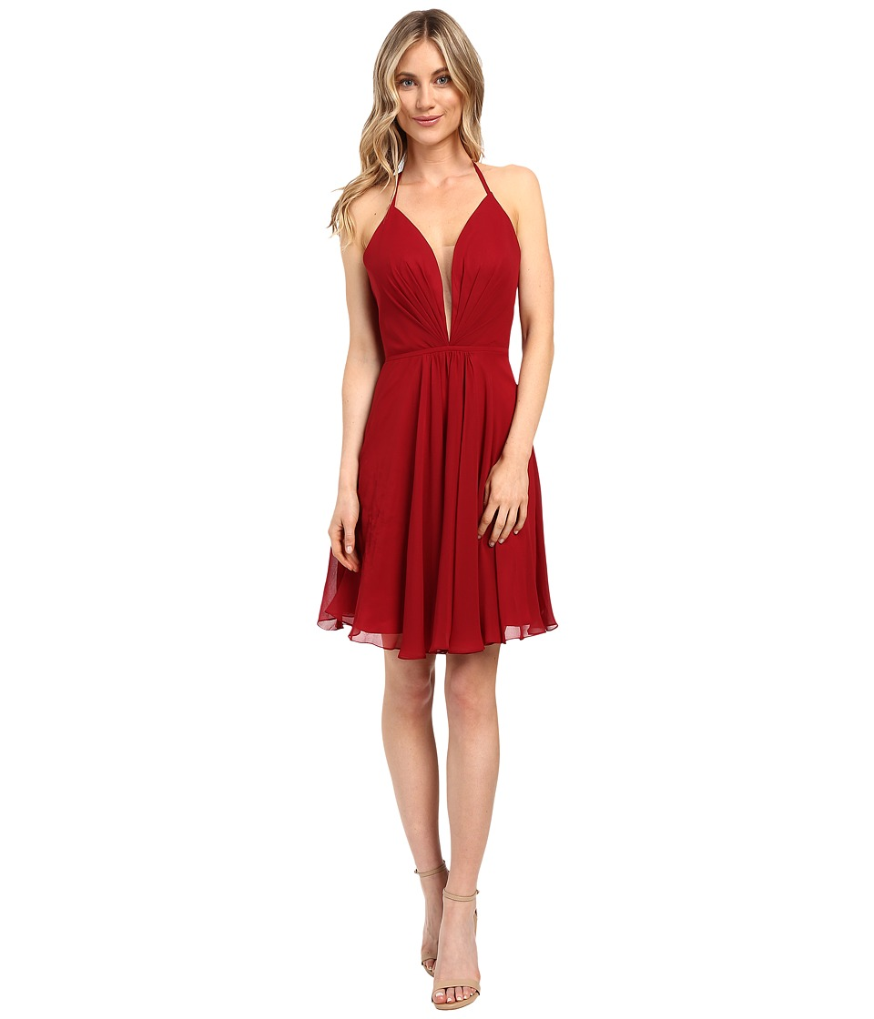 Faviana - Chiffon V-Neck w/ Full Skirt 7851 (Ruby) Women's Dress