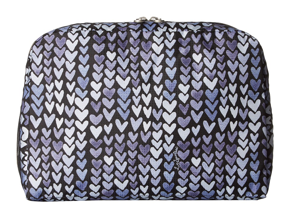 LeSportsac Luggage XL Essential Cosmetic (Painted Hearts Blue) Cosmetic Case