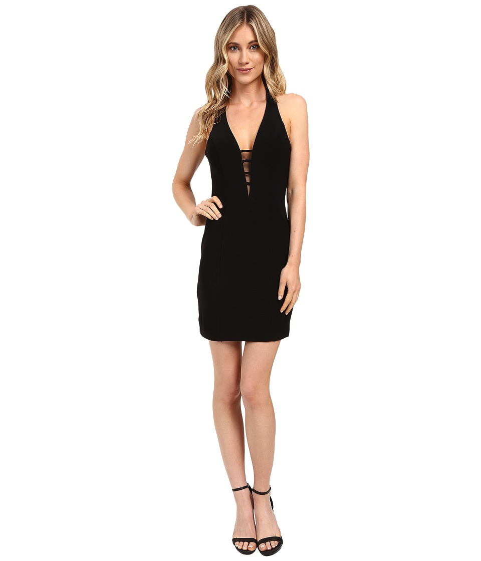 Faviana - Jersey V-Neck w/ Strap Detail 7854 (Black) Women's Dress