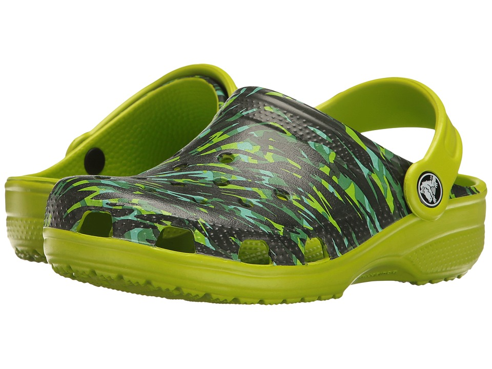 Crocs Kids - Classic Graphic Clog (Toddler/Little Kid) (Volt Green) Kids Shoes