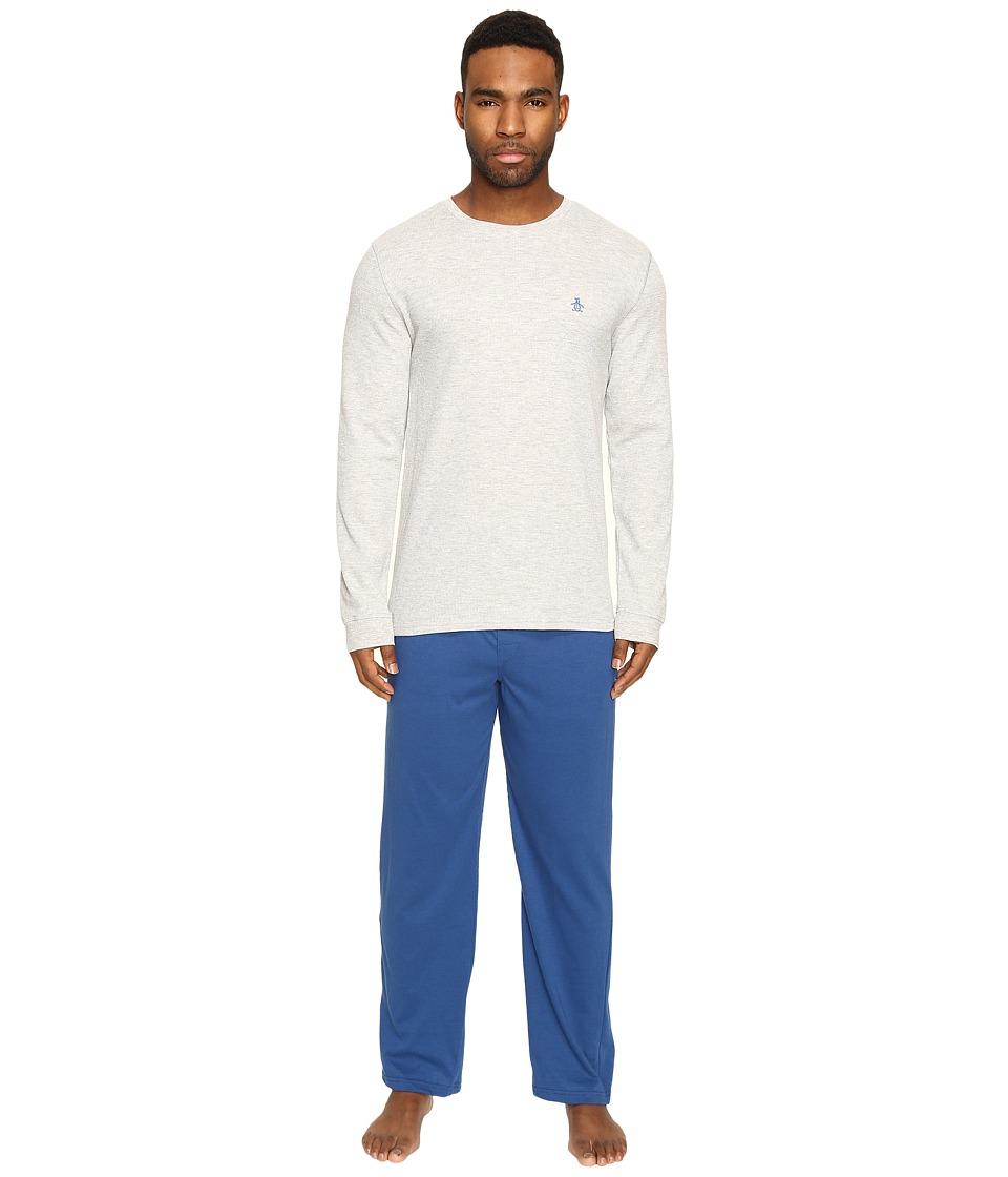 Original Penguin - Basic Lounge Set (Grey Heather/True Blue) Men's Pajama Sets