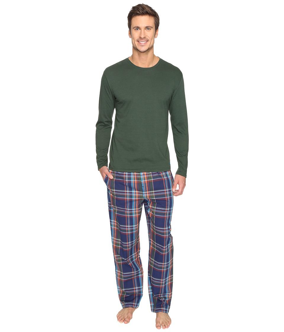 Original Penguin - Jersey Crew PJ Set (Sycamore/Medieval Blue) Men's Pajama Sets