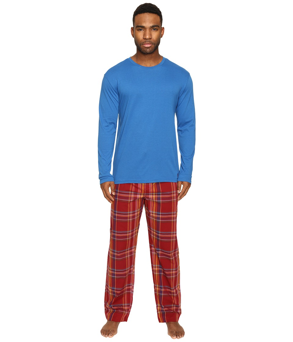 Original Penguin - Jersey Crew PJ Set (Classic Blue/Biking Red) Men's Pajama Sets