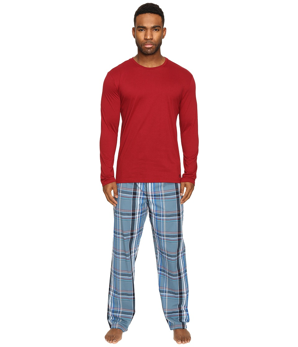 Original Penguin - Jersey Crew PJ Set (Biking Red/Aegean Blue) Men's Pajama Sets
