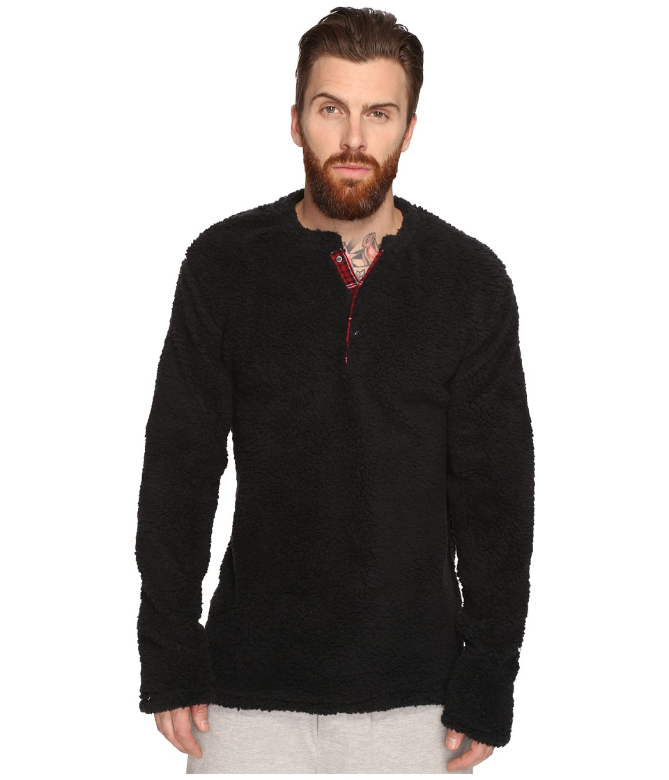 Original Penguin - Henley Fleece Lounge Top (True Black) Men's Pajama