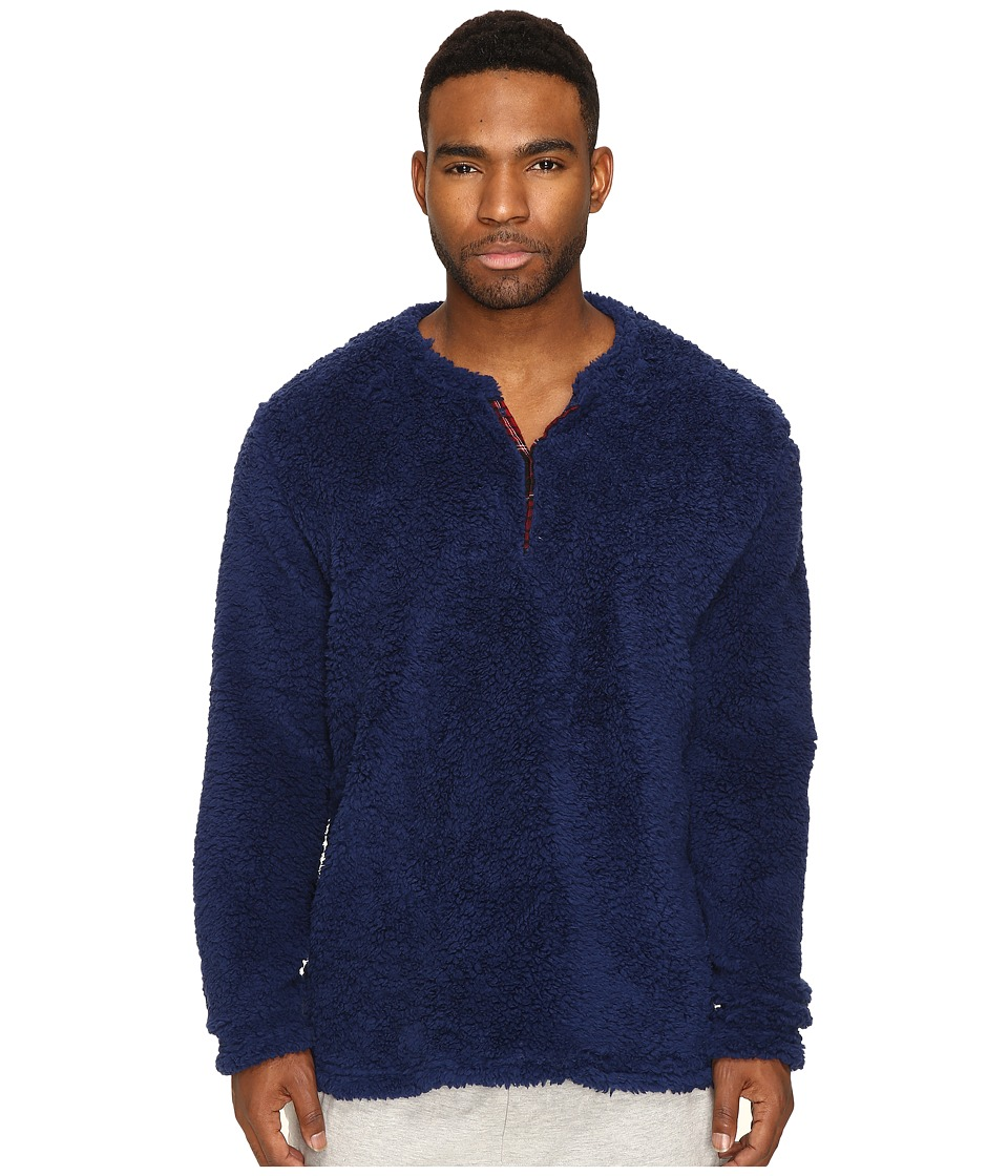 Original Penguin - Henley Fleece Lounge Top (Medieval Blue) Men's Pajama