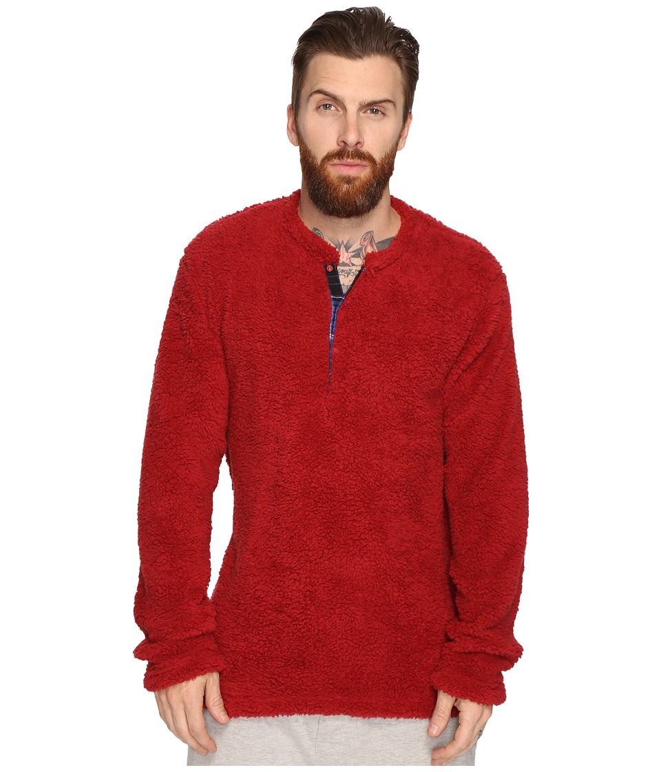 Original Penguin - Henley Fleece Lounge Top (Biking Red) Men's Pajama