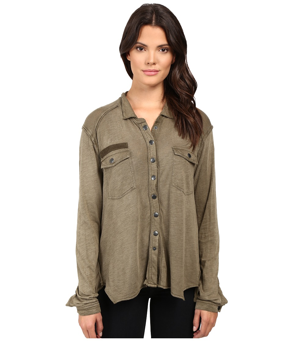 Free People - Monday Morning Button Down (Olive) Women's Clothing