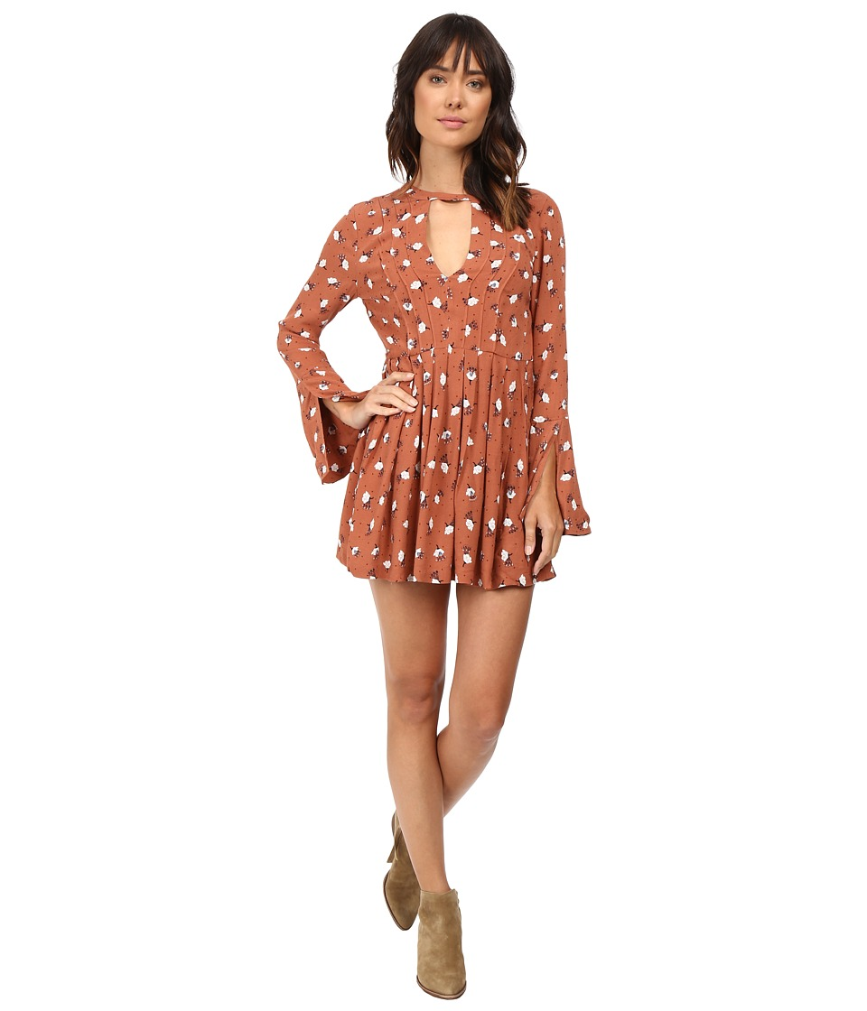 Free People - Tegan Mini Dress (Orange Combo) Women's Dress