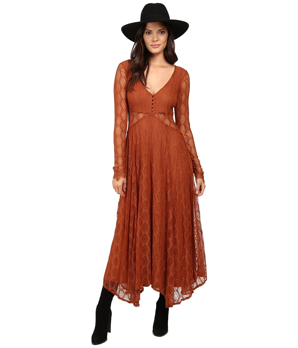Free People - Guinevere Lace Maxi Dress (Bronze) Women's Dress