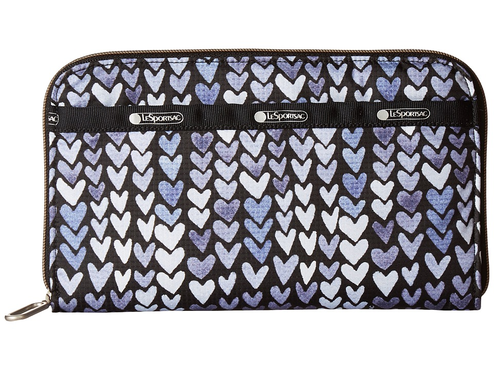 LeSportsac - Everyday Wallet (Painted Hearts Blue) Wallet Handbags