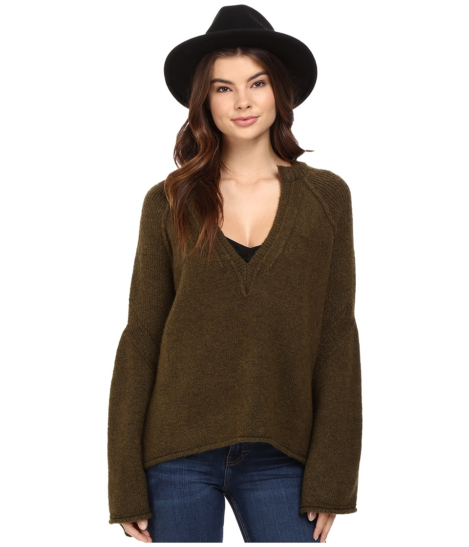 Free People - Lovely Lines Pullover (Olive) Women's Sweater