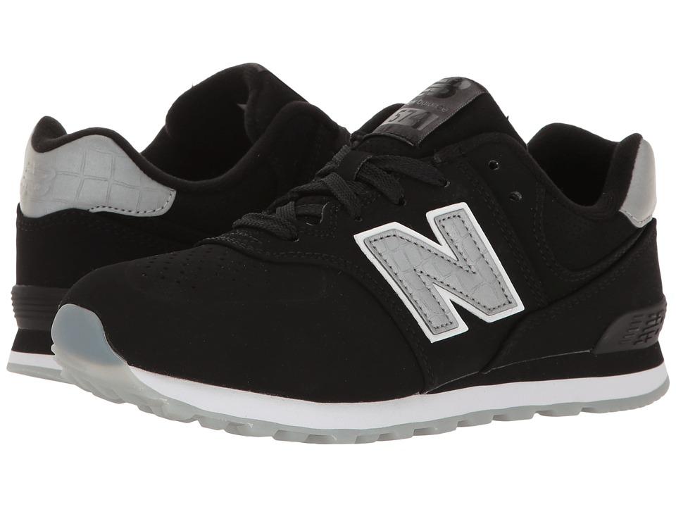 New Balance Kids KL574v1 Ice Rubber (Big Kid) (Black/Black) Boys Shoes