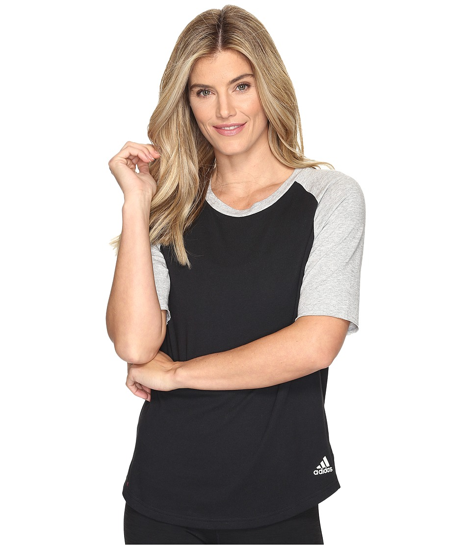 adidas - Baseball Short Sleeve Top (Black/Medium Grey Heather) Women's Long Sleeve Pullover