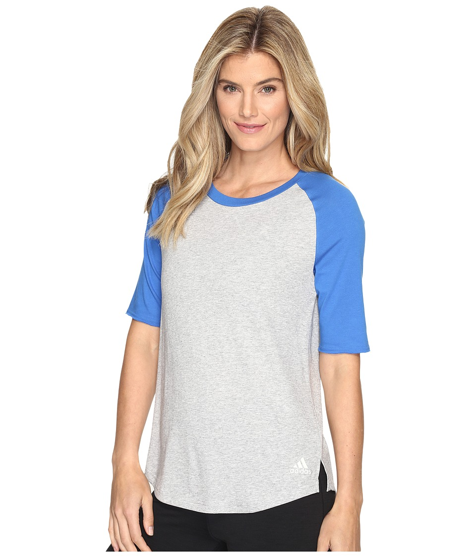 adidas - Baseball Short Sleeve Top (Medium Grey Heather/Blue) Women's Long Sleeve Pullover