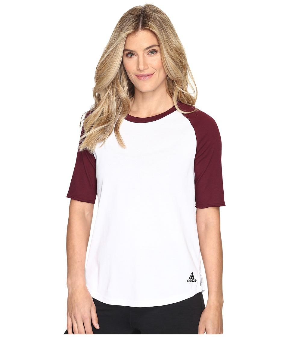 adidas - Baseball Short Sleeve Top (White/Maroon) Women's Long Sleeve Pullover