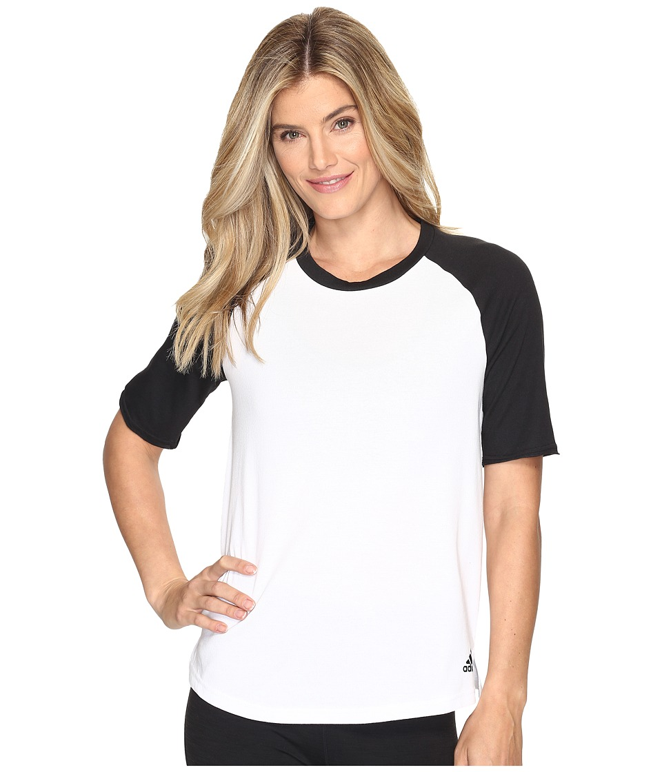 adidas - Baseball Short Sleeve Top (White/Black) Women's Long Sleeve Pullover