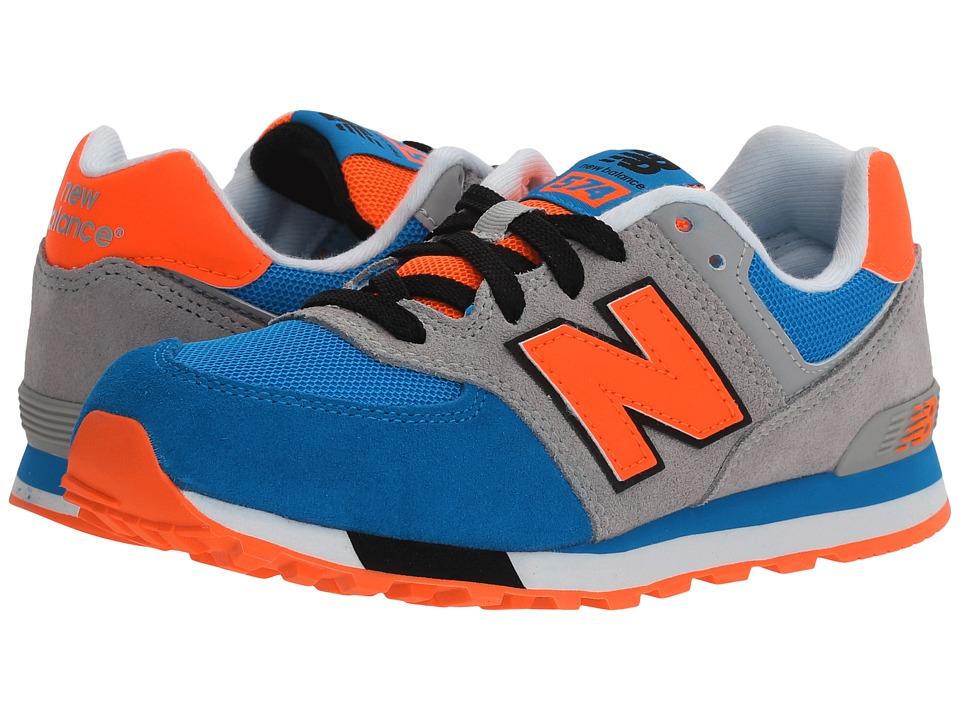 New Balance Kids - KL574v1 (Big Kid) (Grey/Blue) Boys Shoes